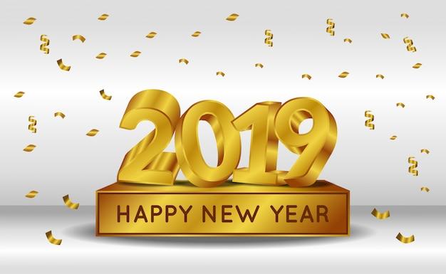 Ano novo com número de ouro 3d