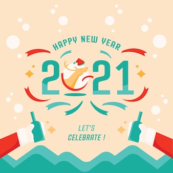 Ano novo comemore com ilustração do personagem da rena feliz