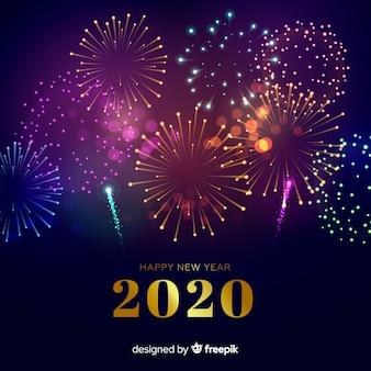 Ano novo conceito com fogos de artifício