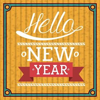 Ano novo conceito com mensagem de design de boas vindas