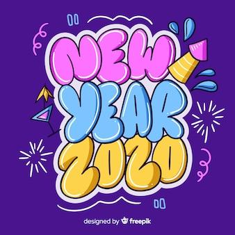 Ano novo conceito desenhado à mão