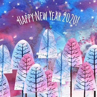 Ano novo conceito em aquarela