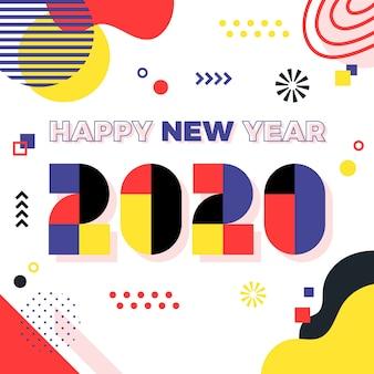 Ano novo conceito em design plano