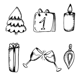 Ano novo conjunto de isolados na mão desenhar estilo tangerinas, pirulito, presente, champanhe, brinquedo, ramo