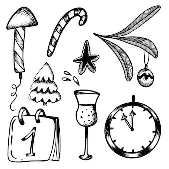 Ano novo conjunto de rabiscos em estilo handdraw foguete de natal, fogos de artifício, pirulito champanhe