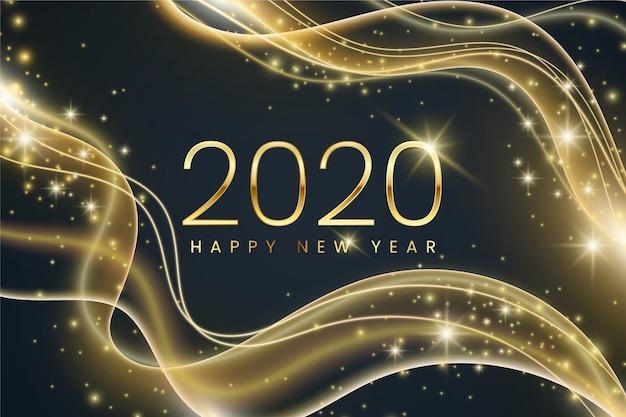Ano novo de fundo em design plano