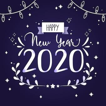 Ano novo de mão desenhada 2020