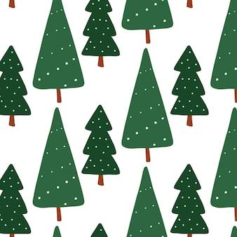 Ano novo de vetor, padrão sem emenda de árvores verdes de natal. pinho chato de natal, abeto repetido impressão em branco. elemento de design de férias de inverno.