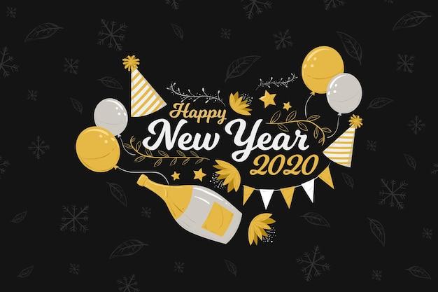 Ano novo desenhado à mão de fundo