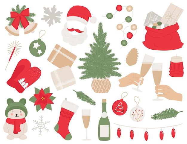 Ano novo desenhado à mão muitos elementos árvore de natal, sinos, bola, champanhe, presentes, guirlandas