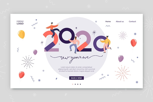 Ano novo design plano de página de destino