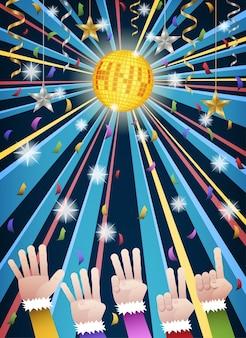 Ano novo, discoteca, partido, contagem regressiva, mãos