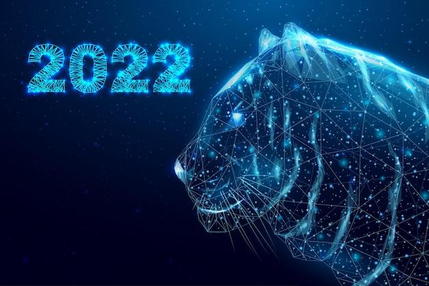 Ano novo do tigre 2022. tigre com cabeça poligonal em estrutura de arame. fundo abstrato moderno futurista. ilustração vetorial.