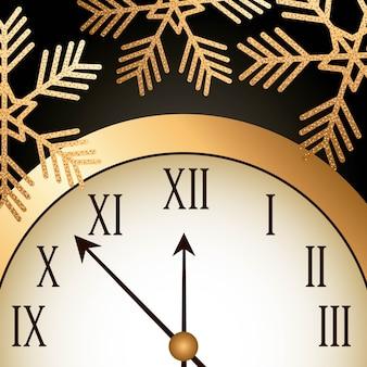 Ano novo dourado brilhante relâmpago floco de neve