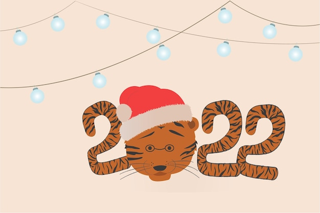 Ano novo e cartões de natal com um padrão de tigre feliz ano novo