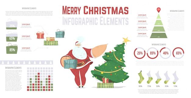 Ano novo e conjunto de infográficos de natal com papai noel