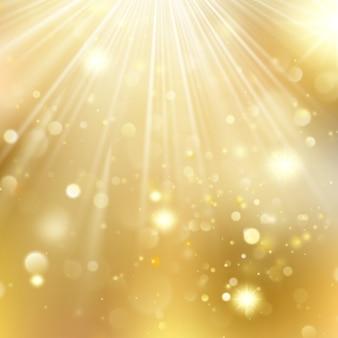 Ano novo e fundo desfocado de natal com estrelas a piscar. cenário brilhante de férias douradas de natal. e também inclui
