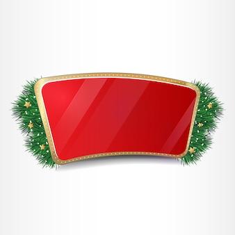 Ano novo e natal bandeira vermelha com galhos de árvores, neve e estrelas douradas.
