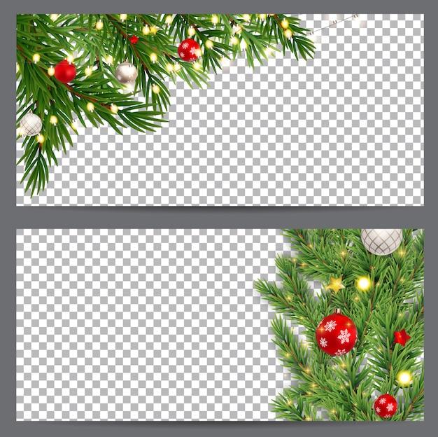 Ano novo e natal cartões de visita, convites, panfletos em um transparente. ilustração