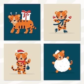 Ano novo e natal engraçados filhotes de tigre de inverno em estilo desenho animado
