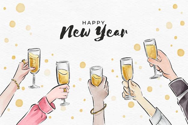 Ano novo em aquarela de fundo