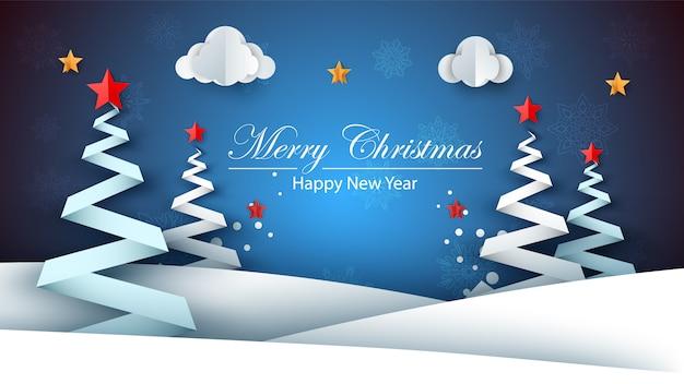 Ano novo feliz de papel dos desenhos animados. feliz natal.
