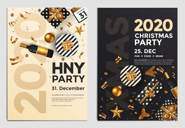 Ano novo festa flyer dourado