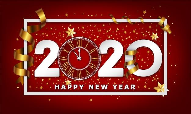 Ano novo fundo criativo tipográfico 2020 com relógio