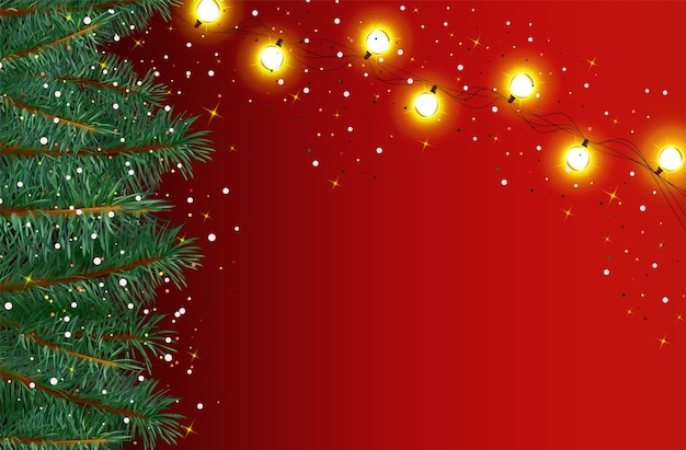 Ano novo, fundo de natal com flocos de neve, brilhos no vermelho