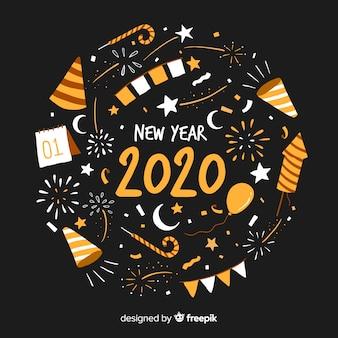 Ano novo fundo desenhado à mão