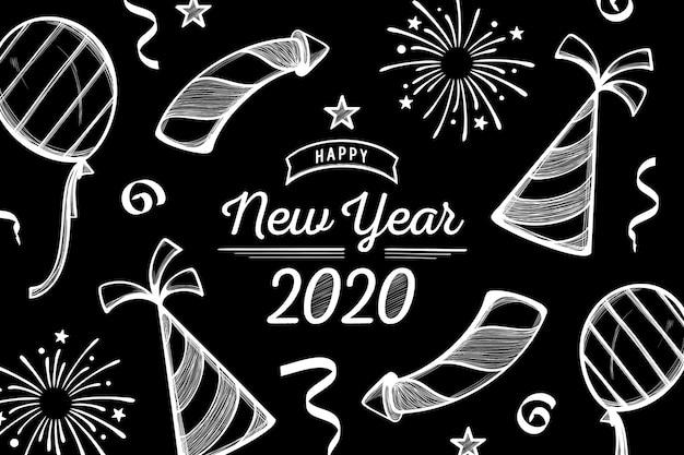 Ano novo fundo desenhado de mão