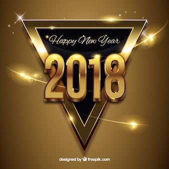 Ano novo fundo dourado com um triângulo preto