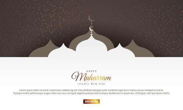 Ano novo islâmico com silhuetas de mesquita
