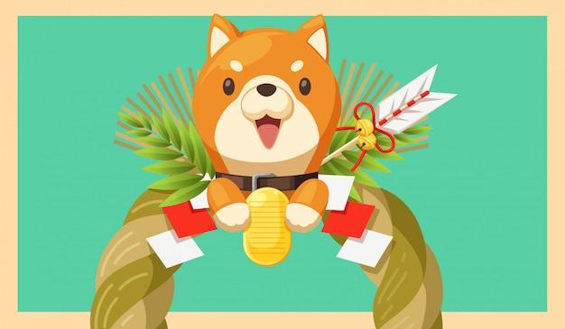 Ano novo japonês e cachorro shiba