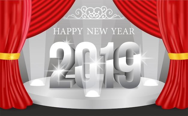 Ano novo número de prata no palco