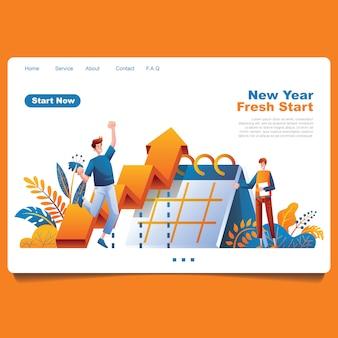 Ano novo objetivo pessoas e gráfico de planejamento com ilustração de elemento foloral