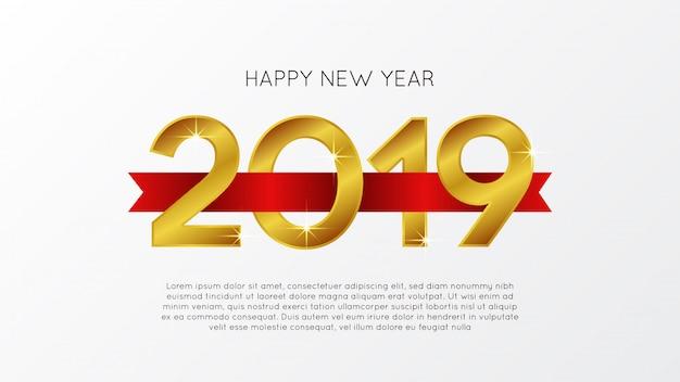 Ano novo ouro com fita vermelha