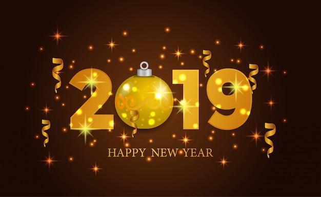 Ano novo ouro com golden bauble