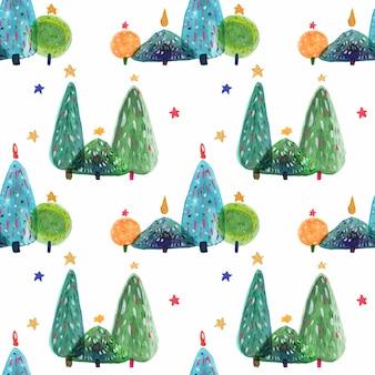 Ano novo padrão decorativo de árvores de aquarela