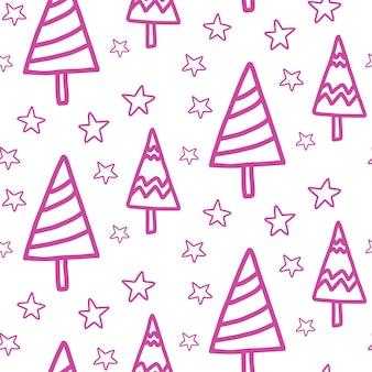 Ano novo, padrão sem emenda de natal em fundo branco. projeto de inverno doodle. impressão de repetição de natal. pinheiros-de-rosa, fundo de estrelas.