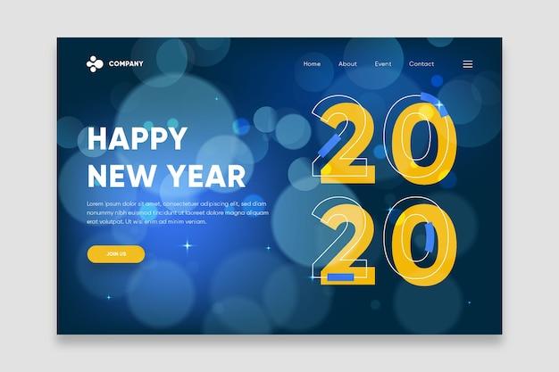 Ano novo página de destino turva