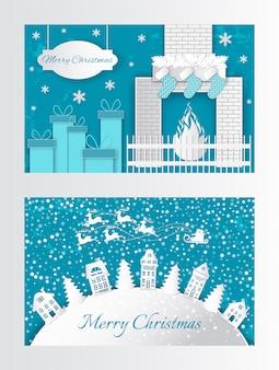 Ano novo papel corte cartão com casas árvores xmas