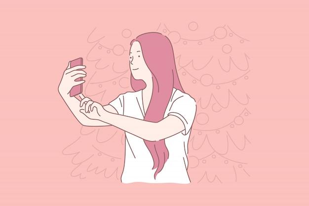 Ano novo selfie, mulher tirando fotos conceito