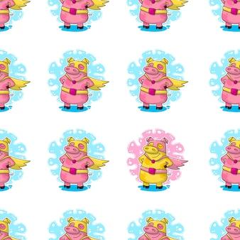 Ano novo sem costura padrão com porcos