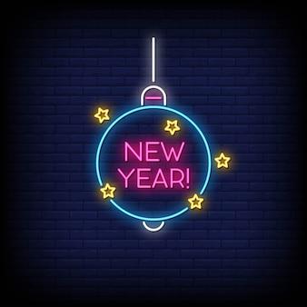 Ano novo sinais de néon estilo texto