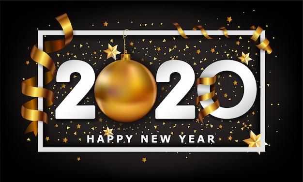 Ano novo tipográficos cretaive fundo 2020 com elementos de bugiganga e listras de bola dourada de natal