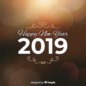 Ano novo turva fundo de luzes douradas