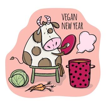 Ano novo vegan. bull faz sopa de repolho e cenoura. ilustração de ano novo