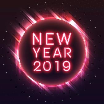 Ano novo vermelho 2019 em um vetor de sinal de néon de círculo vermelho