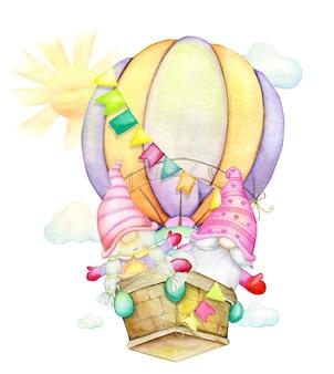 Anões fofos em um balão perto da ilustração do sol e das nuvens